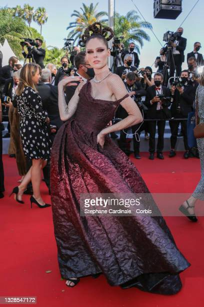 """Coco Rochas attends the """"Aline, The Voice Of Love"""" screening during the 74th annual Cannes Film Festival on July 13, 2021 in Cannes, France."""