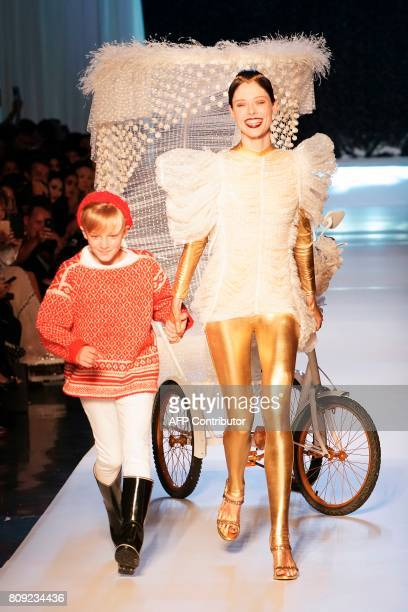 CORRECTION Coco Rochas present creations by Jean Paul Gaultier during the 20172018 fall/winter Haute Couture collection in Paris on July 5 2017 / AFP...