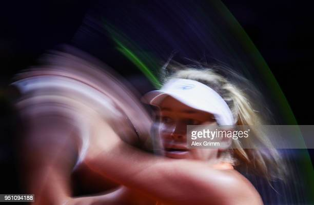 CoCo Vanderweghe of the United States plays a backhand to Sloane Stephens of the United States during day 3 of the Porsche Tennis Grand Prix at...