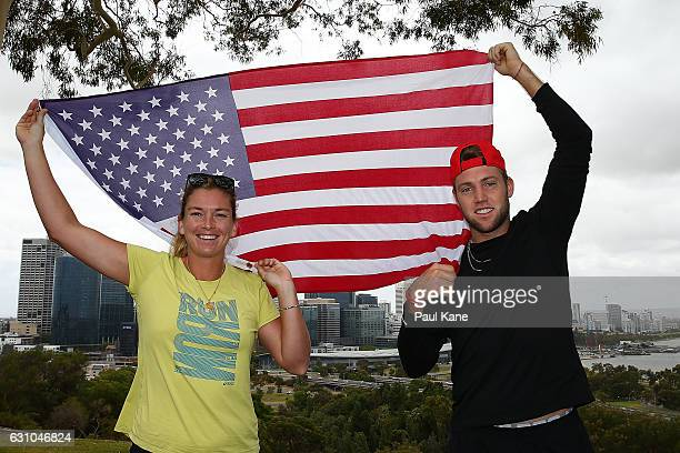 Coco Vandeweghe and Jack Sock of the United States pose with the US flag at Kings Park during day six of the 2017 Hopman Cup at Perth Arena on...
