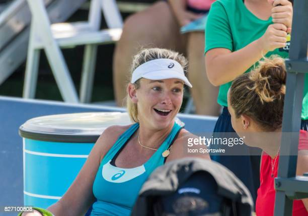 CoCo Vandeweghe and Madison Keys exchanging stories before the awards ceremony during a WTA singles championship round at the Bank of the West...