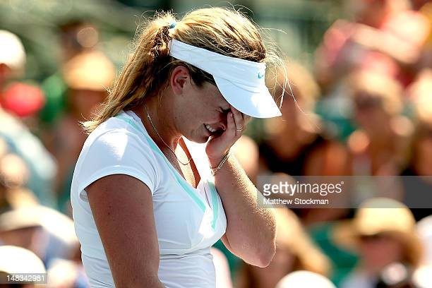 Coco Vandeweghe celebrates her win over Yanina Wickmayer of Belgium during the semifinals of the Bank of the West Classic at Stanford University...