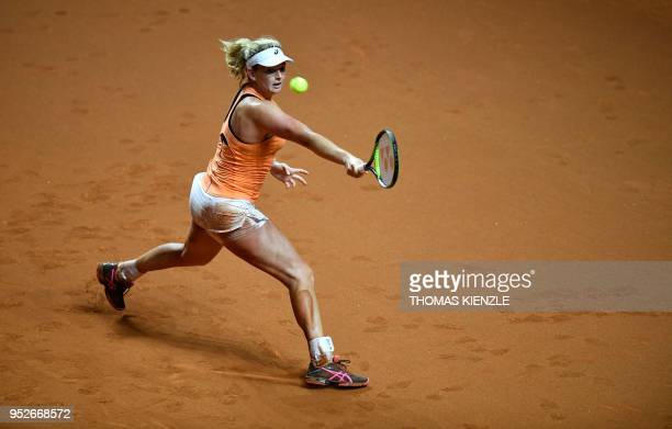 CoCo Vandeweghe from the US returns a ball to Karolina Pliskova from the Czech Republic during their final match at the WTA Tennis Grand Prix in...