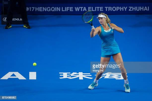 Coco Vandeweghe hits a return in her final match against Julia Goerges of Germany during the WTA Elite Trophy Zhuhai 2017 at Hengqin Tennis Center on...