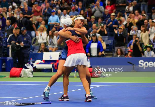 CoCo Vandeweghe of the United States and Ashleigh Barty of Australia celebrate winning their Women's Doubles final match against Timea Babos of...