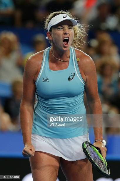 Coco Vandeweghe of the United States celebrates a point in the womens singles match against Belinda Bencic of Switzerland on day six of the 2018...