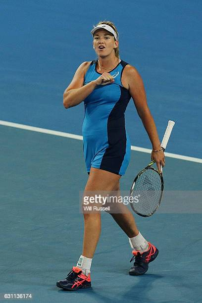 Coco Vandeweghe of the United States celebrates after defeating Kristina Mladenovic of France in the womens singles match during the 2017 Hopman Cup...