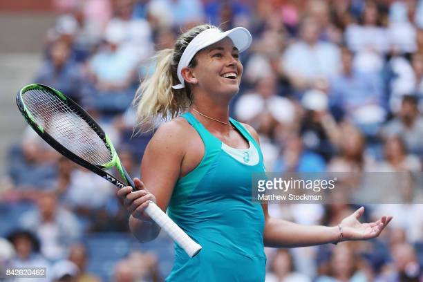 CoCo Vandeweghe of the United States celebrates defeating Lucie Safarova of Czech Republic after their fourth round Women's Singles match on Day...
