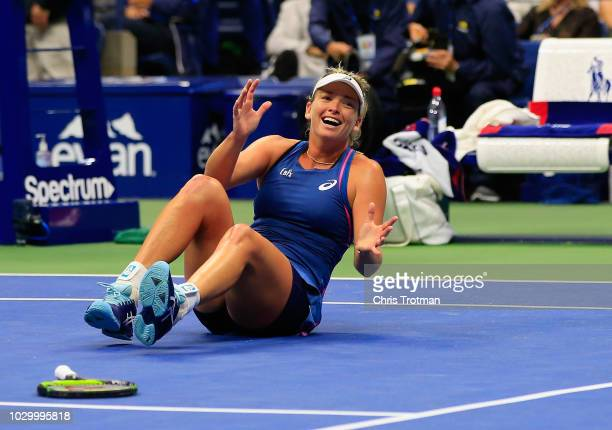 CoCo Vandeweghe of the United States celebrates match point and winning her Women's Doubles final match with teammate Ashleigh Barty of Australia...