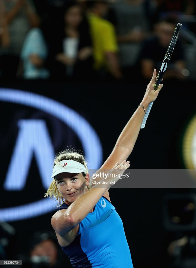 Coco Vandeweghe of the United States celebrates to the crowd after victory in her fourth round match against Angelique Kerber of Germany on day seven of the 2017 Australian Open at Melbourne Park on January 22, 2017 in Melbourne, Australia.