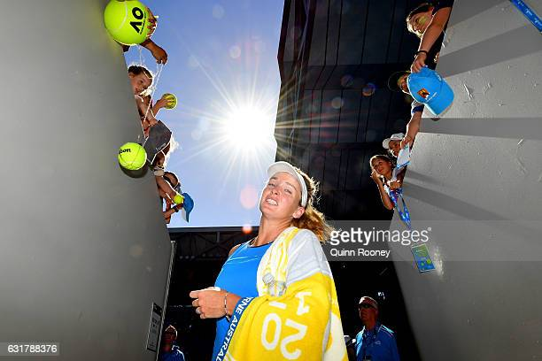 Coco Vandeweghe of the United States celebrates winning her first round match against Roberta Vinci of Italy on day one of the 2017 Australian Open...