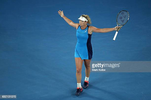 Coco Vandeweghe of the United States celebrates winning her third round match against Eugenie Bouchard of Canada on day five of the 2017 Australian...