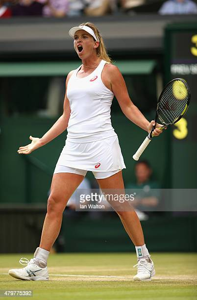 Coco Vandeweghe of the United States celebrates winning the 2nd set in her Ladies Singles Quarter Final match against Maria Sharapova of Russia...