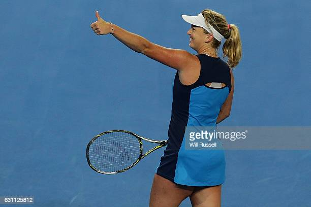Coco Vandeweghe of the United States gestures to someone in the crowd after winning a point to Kristina Mladenovic of France in the womens singles...