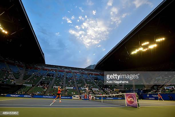Coco Vandeweghe of the United States in action during the women's singles match against Agnieszka Radwanska of Poland during day one of the Toray Pan...