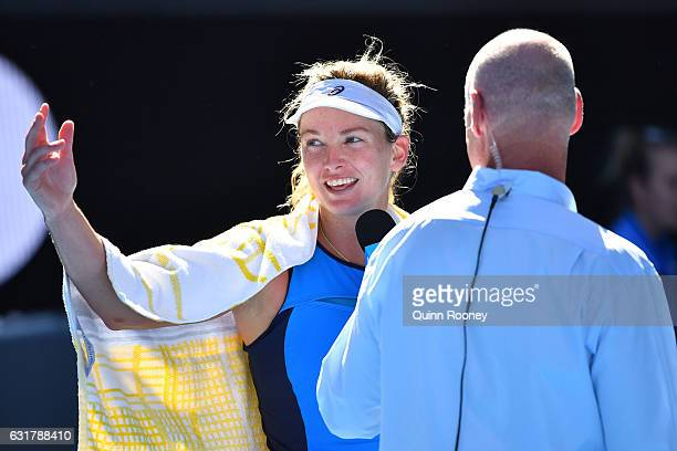 Coco Vandeweghe of the United States is interviewed after winning her first round match against Roberta Vinci of Italy on day one of the 2017...