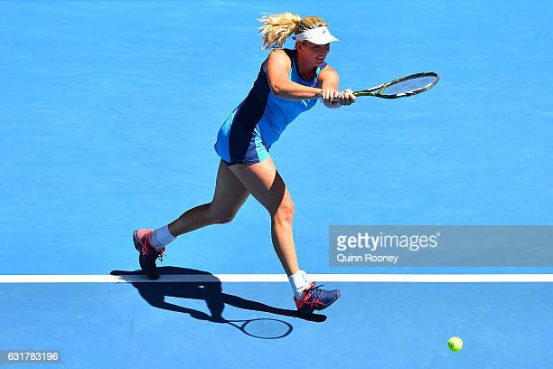 Coco Vandeweghe of the United States plays a backhand in her first round match against Roberta Vinci of Italy on day one of the 2017 Australian Open...