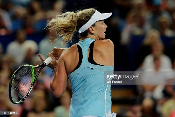 Coco Vandeweghe of the United States plays a backhand in the womens singles match against Belinda Bencic of Switzerland on day six of the 2018 Hopman...