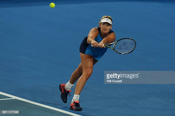 Coco Vandeweghe of the United States plays a backhand to Kristina Mladenovic of France in the womens singles match during the 2017 Hopman Cup Final...
