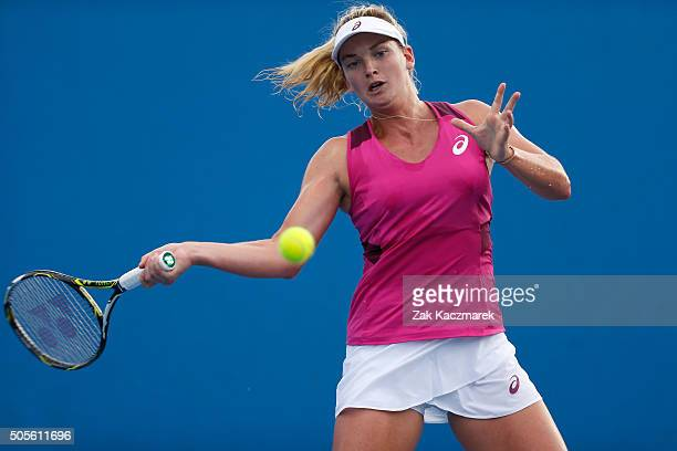 Coco Vandeweghe of the United States plays a forehand in her first round match against Madison Brengle of the United States during day two of the...