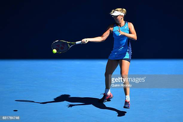 Coco Vandeweghe of the United States plays a forehand in her first round match against Roberta Vinci of Italy on day one of the 2017 Australian Open...