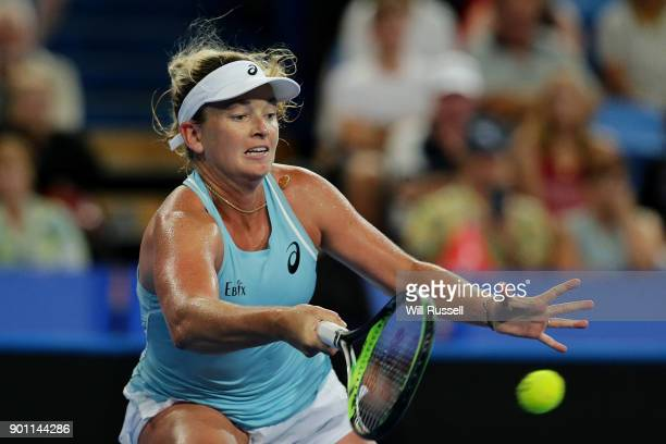 Coco Vandeweghe of the United States plays a forehand in the womens singles match against Belinda Bencic of Switzerland on day six of the 2018 Hopman...