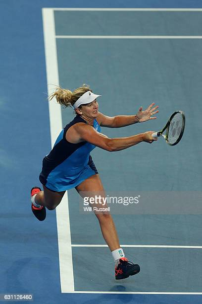 Coco Vandeweghe of the United States plays a forehand to Kristina Mladenovic of France in the womens singles match during the 2017 Hopman Cup Final...