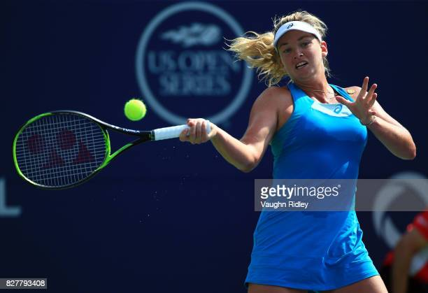 Coco Vandeweghe of the United States plays a shot against Agnieszka Radwanska of Poland during Day 4 of the Rogers Cup at Aviva Centre on August 8...