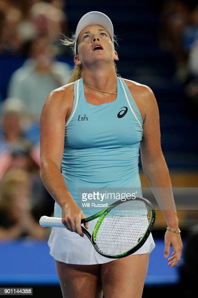 Coco Vandeweghe of the United States reacts after dropping a point in the womens singles match against Belinda Bencic of Switzerland on day six of...