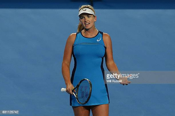 Coco Vandeweghe of the United States reacts after losing a point to Kristina Mladenovic of France in the womens singles match during the 2017 Hopman...