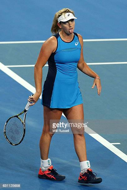 Coco Vandeweghe of the United States reacts after losing match point to Kristina Mladenovic of France in the womens singles match during the 2017...