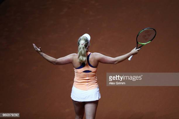CoCo Vandeweghe of the United States reacts during a show event on day 1 of the Porsche Tennis Grand Prix at PorscheArena on April 23 2018 in...