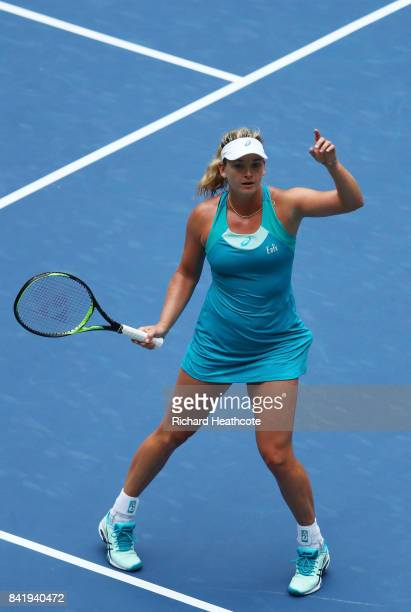 CoCo Vandeweghe of the United States reacts during her third round match against Agnieszka Radwanska of Poland on Day Six of the 2017 US Open at the...