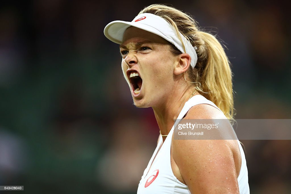 Coco Vandeweghe of the United States reacts during the Ladies Singles first round match against Kateryna Bondarenko of Ukraine on day two of the Wimbledon Lawn Tennis Championships at the All England Lawn Tennis and Croquet Club on June 28, 2016 in London, England.