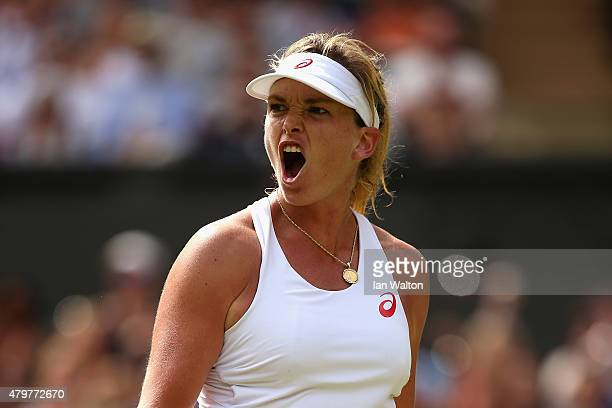 Coco Vandeweghe of the United States reacts in her Ladies Singles Quarter Final match against Maria Sharapova of Russia during day eight of the...