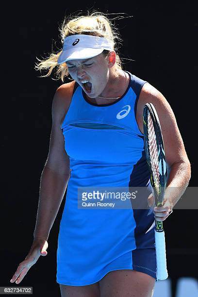 CoCo Vandeweghe of the United States reacts in her semifinal match against Venus Williams of the United States on day 11 of the 2017 Australian Open...