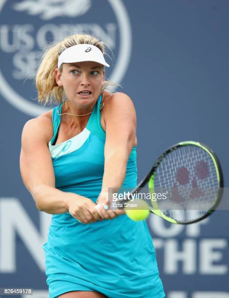 CoCo Vandeweghe of the United States returns a shot to Anastasia Pavlyuchenkova of Russia during their quarterfinal match on Day 5 of the Bank of the...