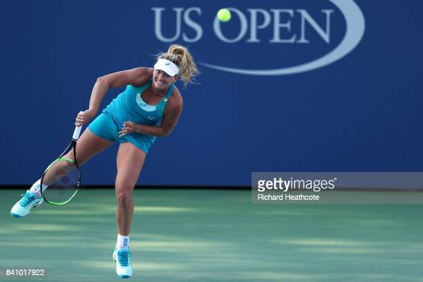 CoCo Vandeweghe of the United States serves against Alison Riske of the United States during their first round Women's Singles match on Day Three of...