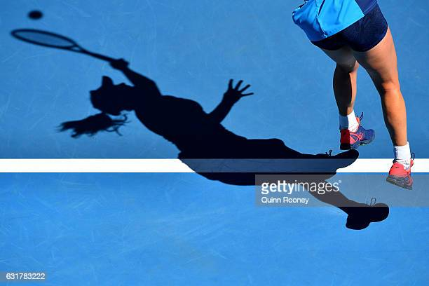 Coco Vandeweghe of the United States serves in her first round match against Roberta Vinci of Italy on day one of the 2017 Australian Open at...