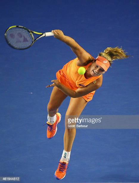 Coco Vandeweghe of the United States serves in her second round match against Samantha Stosur of Australia during day four of the 2015 Australian...