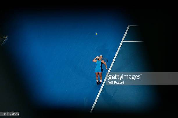 Coco Vandeweghe of the United States serves to Kristina Mladenovic of France in the womens singles match during the 2017 Hopman Cup Final at Perth...