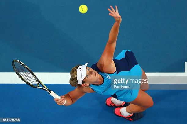 Coco Vandeweghe of the United States serves to Kristina Mladenovic of France in the women's singles match during the 2017 Hopman Cup Final at Perth...
