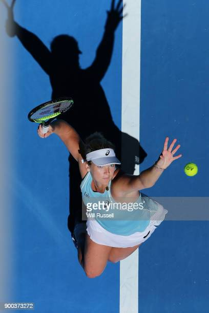 Coco Vandeweghe of the United States serves to Reserve player Maddie Inglis of Japan in the womens singles match on Day Four of the 2018 Hopman Cup...