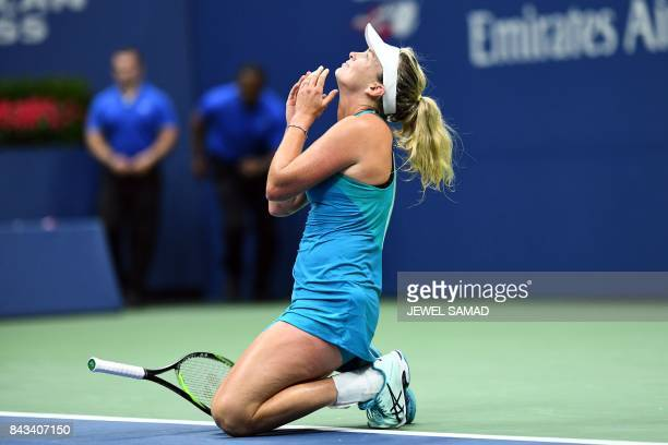 CoCo Vandeweghe of the US celebrates defeating Czech Republic's Karolina Pliskova during their 2017 US Open Women's Singles Quarterfinal match at the...