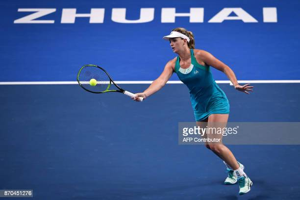Coco Vandeweghe of the US hits a return against Julia Goerges of Germany during the women's singles final at the Zhuhai Elite Trophy tennis...