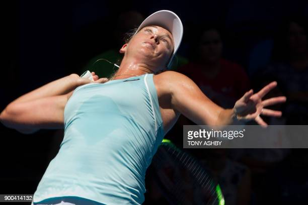 TOPSHOT Coco Vandeweghe of the US serves against Australia's Maddison Inglis a subtitute for Naomi Osaka of Japan during their fifth session women's...