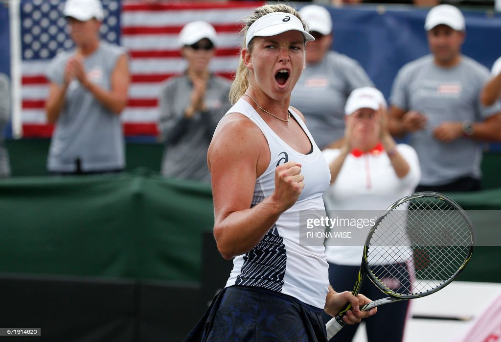 Coco Vandeweghe of the USA celebrates her win against Katerina Siniakova of Czech Republc during their semi-finals Fed Cup match match in Tampa, Florida April 23,2017. /