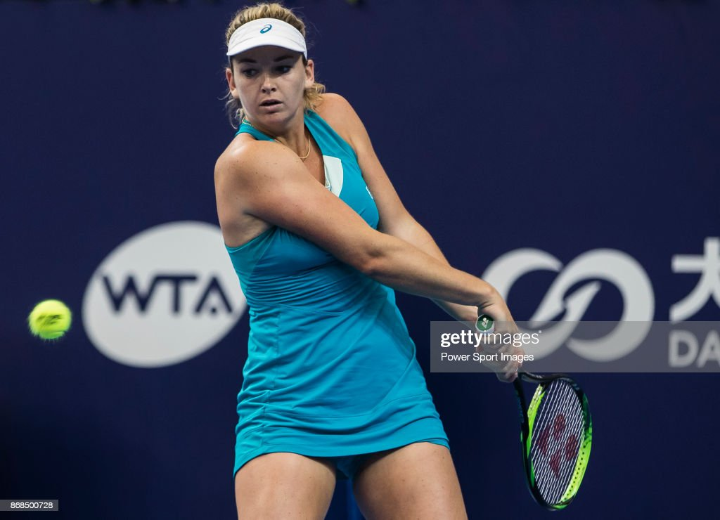 Coco Vandeweghe of the USA hits a return in her first round match against Shuai Peng of China during the WTA Elite Trophy Zhuhai 2017 at Hengqin Tennis Center on October 31, 2017 in Zhuhai, China.