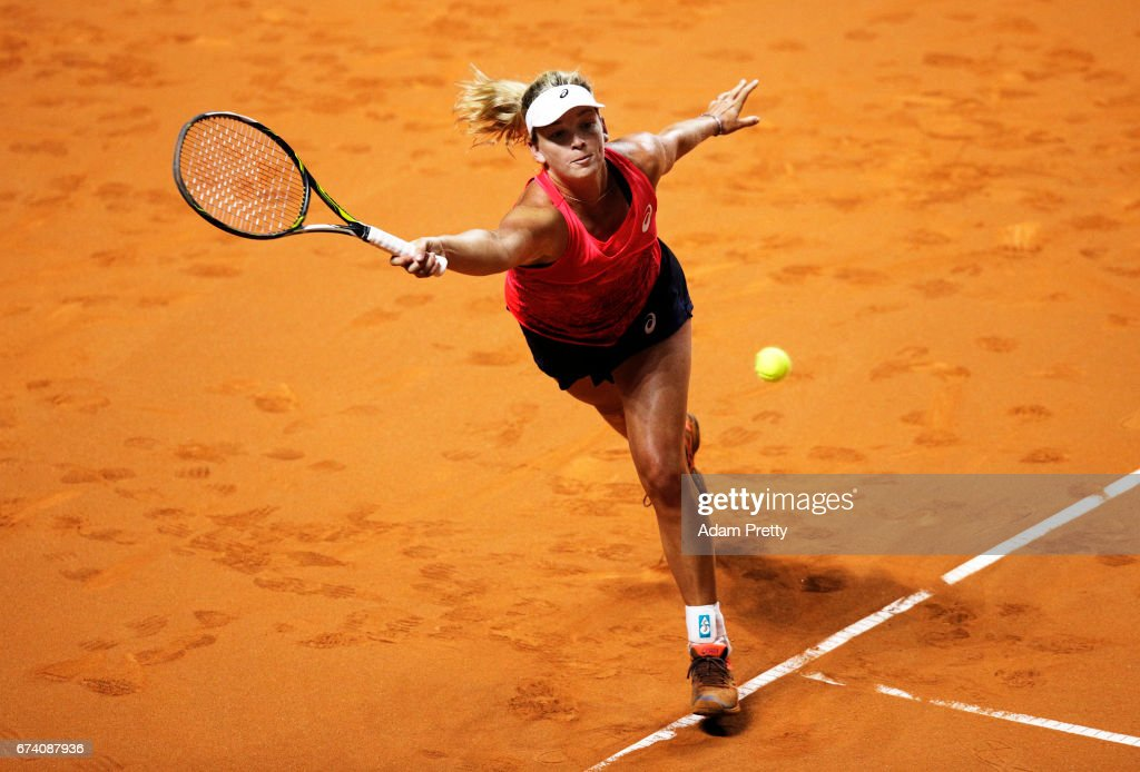 Coco Vandeweghe of the USA plays a backhand during her match against Karolina Pliskova of the Czech Republic during the Porsche Tennis Grand Prix at Porsche Arena on April 27, 2017 in Stuttgart, Germany.
