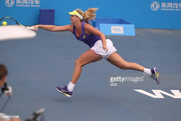 Coco Vandeweghe of USA competes with Caroline Garcia of France during day four of the 2014 Dongfeng Motor Wuhan Open at Optics Valley International...